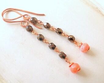 Chain bead earrings, beaded long earrings, brown in beaded jewelry, beads earrings, costume jewelry for women, brown drop earrings, gift her