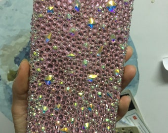 Light pink x Crystal AB 360 phone case 2 pieces case for iphone