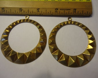 """Vintage New Old Stock Raw Brass Hoop Pendant or Earring for Jewelry and Beading Designs, 2 1/2"""" with Top Loop"""