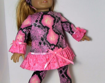 "18"" Doll Clothes fit American Girl Ruffled Tunic & Leggings Set PINK SNAKESKIN"