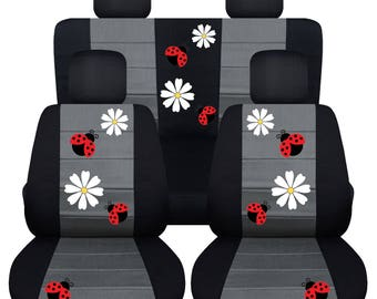 Ladybird Car Seat Covers....Any Middle Colour Insert...We Make For All  Makes and Models Of cars