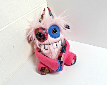 Plush Monster - Handmade Monster Plush - OOAK Stuffed Monster - Soft Pink Faux Fur Monster - Hand Embroidered - Weird Cute Plush Toy