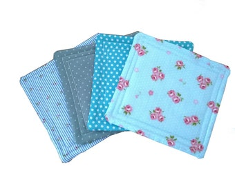 Fabric coasters, set of 4 in blue floral & polka dot patterns