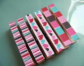 Decorative Decoupaged Clothespins Memo clips ---Aurora Gifts Under 5 Dollars Hostess Gift, Kitchen, Home Organization, Chip Clip, Office