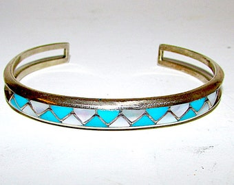 Vintage Zuni Sterling Silver Turquoise Mother Of Pearl Mosaic Inlay Cuff Bracelet Singed Native American Old Pawn