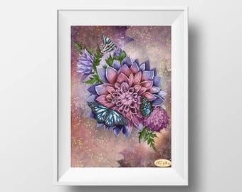 DIY wall decor flower DIY embroidery kit needlework flower fractal needlework kit housewarming gift idea fractal chart abstract fractal art