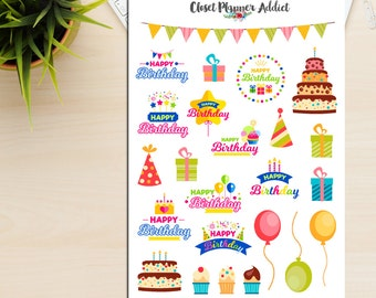 Happy Birthday Planner Stickers | Birthday Stickers | Birthday Party | Birthday Cake | Reminder Stickers (S-201)