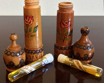 Vintage Wooden Holders with Bulgarian Rose Oil Samples (2)