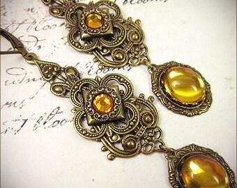 Renaissance Earrings, Topaz, Medieval Jewelry, Renaissance Wedding, Ren Faire, Bridal Earrings, Handfasting, Victorian, Avalon