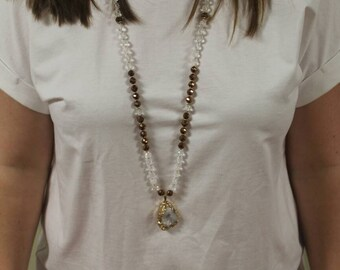 Gold and Druzy Necklace