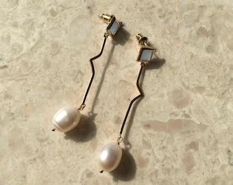 dainty glass cubic pearl dangle earrings, cubic earrings, gold plated, bold earrings, drop earrings, geometric, minimalist,skyblue
