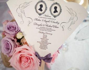 Set of 25+ PADDLE STYLE Vintage Silhouette Design Wedding Program Fan custom colors available
