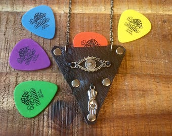 Guitar Pick Holder Necklace-Rockn'roll jewelry-Leather Case-Dark Brown-Guitar Accessories-Leather Jewelry for Him or Her-Evil Eye and Hamsa