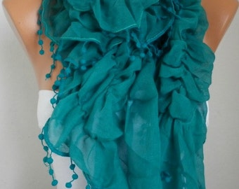 Teal Ruffle Cotton Scarf Cowl Scarf Gift Ideas For Her Women's Fashion Accessories Women Scarves