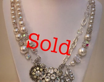 SOLD   Grand statement necklace, vintage Weiss brooch, crystal, luxurious Aurora Borealis crystals