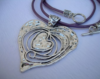 Heart Necklace, Leather Necklace, Heart Pendant, Purple, Womens Necklace, Pendant, Womens Jewelry, Heart, Statement, Necklace