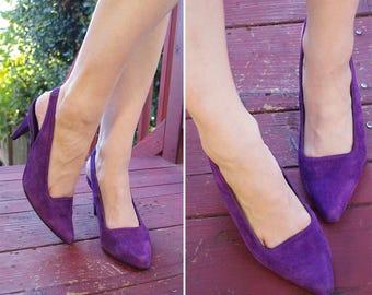 GRAPE 1980's 90's Vintage Deep Purple Suede Leather Slingback High Heels // by CARESSA // size 8 W