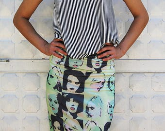 Pop Art Printed Skirt Tube  Skirt; Pencil Midi  Skirt; Adjustable Skirt;  Stretch Cotton Pencil Skirt
