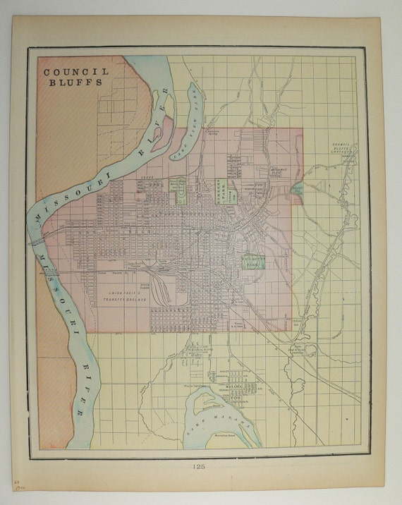 Vintage Map Council Bluffs IA Sioux City Iowa Map City - Vintage iowa map
