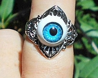 Silver Plate Blue Evil Eye  SIZE 7 1/2 Ring.  On Tibetian Silver Art Deco Style Ring.  Evil Eye Added For Your Protection!  Only 19.90.