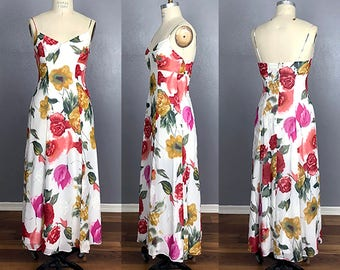 Vtg 90s Grunge Floral Vintage Chiffon Cami Maxi Dress Rayon Size 8 M Medium Cream Floral with Red, Magenta and Gold Flowers Boho Bohemian
