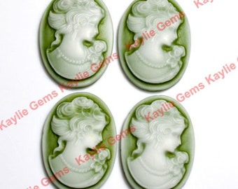 Cameo 18x25mm Victorian Lady Portrait - Light Olive Green Base White Face  B05 - 4pcs