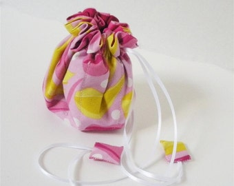 Pink and Yellow Fabric Posy Pouch