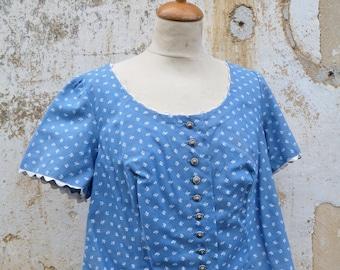 Vintage 1970/70s Tyrol Austria Trachten Dirndl corset bodice top blouse, jacket blue calico cotton size XL
