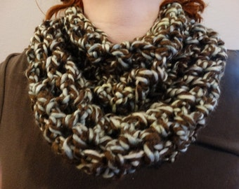 Soft and cozy cowl neck scarf.  (Brown, sage green, and slate blue)