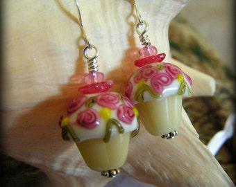 ROSEY CUPCAKE - Lampwork Glass Bead Earrings