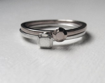 Modern silver stacking rings, silver ring set, mini metal diamond stack ring, stacking ring set, silver diamond ring,  ready to ship size 8