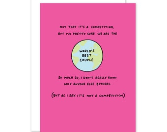 World's Best Couple Romantic Card by Veronica Dearly - Funny Card - Anniversary Card - Valentines Card - Pink Card - I Love You Card
