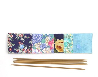 """DPN cozy for 8"""" / 20cm needles, blue floral DPN holder, sock needle pouch with snaps"""