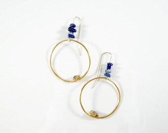 Raw Diamond Hoop Earrings • Lapis Earrings • Statement Earrings • Raw Crystal Earrings