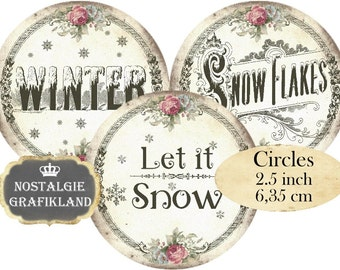 Winter Wonderland Let it Snow Snowflakes Circles 2.5 inch Instant Download digital collage sheet C171