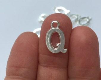 8 Letter Q Charms Silver Plated 15 x 10mm