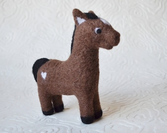 Horse, needle felted barnyard animal fiber art sculpture toys