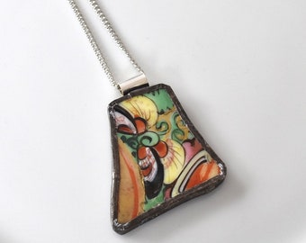 Broken China Jewelry Pendant - Colorful Gold Japanese