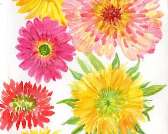 Flowers watercolor painting, Gerbera daisies, dwarf Teddy Bear Sunflowers, zinnias watercolors paintings original,  flowers painting floral