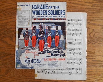 Parade of Wooden Soldiers Sheet Music, La Parade Des Soldats DeBois, 1933, Great Cover Graphic Soldiers on Parade, Red and Blue and Old