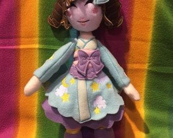 Japanese Fashion Doll Kei Doll Wa-Lolita Kimono (Stars and Clouds) Fleece Plush Plushie Toy