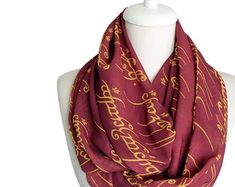 Lord of the Rings Scarf Infinity Scarf Elvish Script Scarf Claret Red Book Scarf Geek Gift For Her Book Lover Gift Lotr Gift For Women