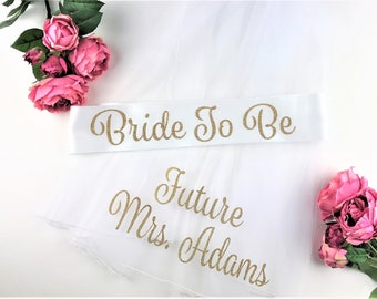 Glitter Bride To Be Sash and Veil, Bride to Be Veil,  Future Mrs Veil, Bachelorette Party Veil, Personalized Veil, BRIDE TO BE Style S