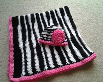 Zebra Hat and Blanket Set