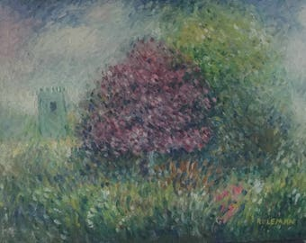 Fine Art Giclee Print: Spring Scene with Distant Castle, 2017
