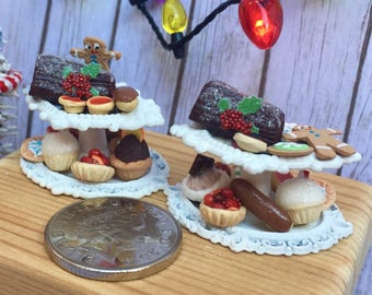 Miniature Christmas, cake stands ,filled with handmade cupcakes and cookies .1/12th scale tea party