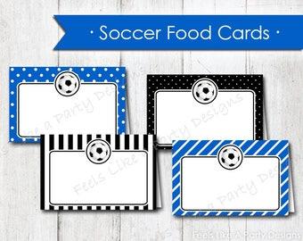 Blue Soccer Food Cards - Instant Download