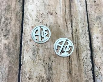 Alpha Phi Sorority Monogram Style Stud Earrings | Alpha Phi Earrings | APhi Earrings | Sorority Earrings | Monogram Earrings