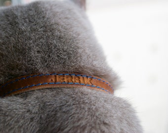 Cat Collar, Leather Cat Collar, Personalized Leather Cat Collar, Horween Leather Cat Collar