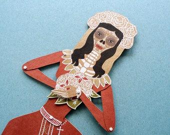 Articulated paper doll Santa Muerte paper puppet Dia de los muertos Saint Death Catarina Mexico sugar skull birthday gift for her marionette
